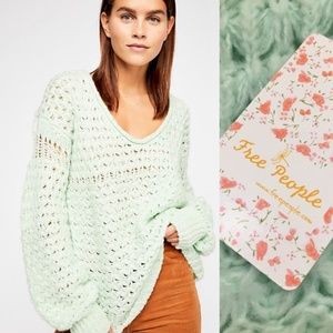 NEW Free People Crashing Waves Pullover Mint Green